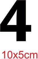 Cijfersticker - zwart   - 10 x 5 cm  -  Kliko - brievenbus - deuren - containers  - voorraadbakken  - ramen -  nummer 4