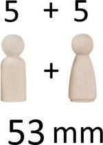 10x Blanco Houten Pionnen 53mm - Houten Pion 5,3 cm- Poppetjes Man En Vrouw - Zelf Poppetje Maken - Houten Poppetjes