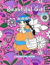 Beautiful Girl Adult Coloring Book