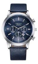 Chronos - heren horloge - blauw - 42 mm - I-deLuxe verpakking