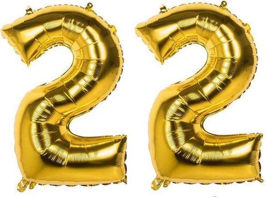 22 Jaar Folie Ballonnen Goud - Happy Birthday - Foil Balloon - Versiering - Verjaardag - Man / Vrouw - Feest - Inclusief Opblaas Stokje & Clip - XXL - 115 cm