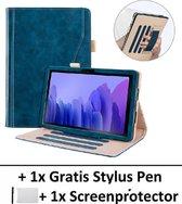 Luxe Lederen Smart Cover Book Case Hoes Met Handvat Voor Samsung Galaxy Tab A7 10.4 Inch 2020 (SM-T500/T505) - 3 Standen Standaard Flip Sleeve - Beschermhoes Met Screen Protector & Stylus Pen - Blauw
