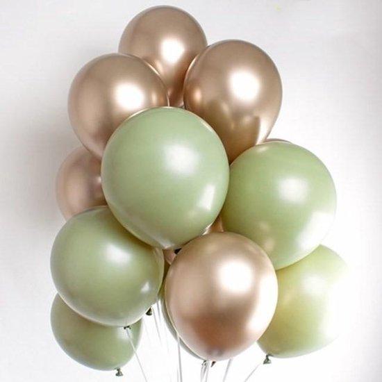 Retro Vintage Ballonnen Groen &  Goud Metallic - Gold | 9 stuks | Baby Shower - Kraamfeest - Verjaardag - Geboorte - Fotoshoot - Birthday - Party - Feest - Feestje