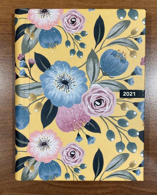 Afbeelding van Midnight Gold agenda 2021 - ringband - 12 x 16 cm - Lannoo Graphics - bloemen - licht - geel- roze -blauw