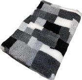 Vetbed - Dierenmat - Dierenkleed - Hondenkleed - Patchwork Zwart Grijs Antraciet Wit latex anti slip 100 x 75 cm - Machine wasbaar