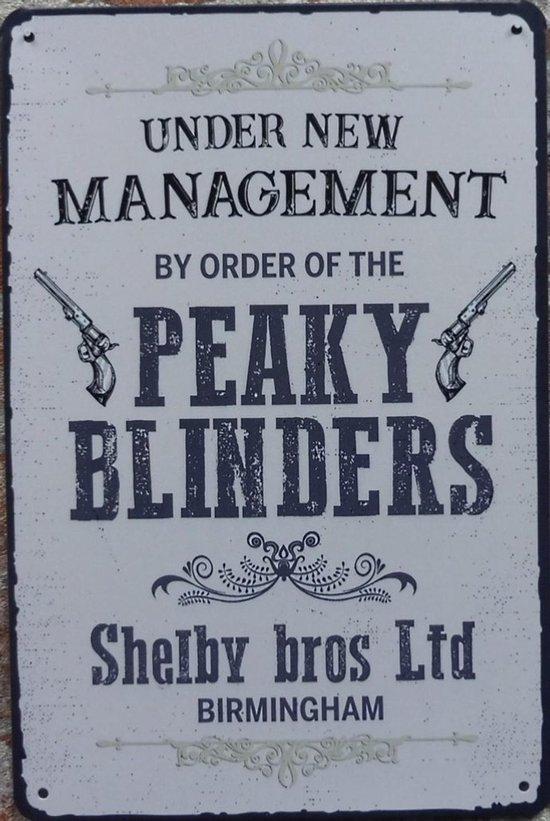 Wandbord – Peaky Blinders - Vintage Retro - Mancave - Wand Decoratie - Emaille - Reclame Bord - Tekst - Grappig - Metalen bord - Schuur - Mannen Cadeau - Bar - Café - Kamer - Tinnen bord - 20 x 30 cm - Cave & Garden - Metal sign