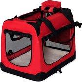 Rexa ® Opvouwbare hondentas voor transport | (L) 70x52x50 cm Rood | Inclusief schouderriem | Honden reistas | Dieren transporttas