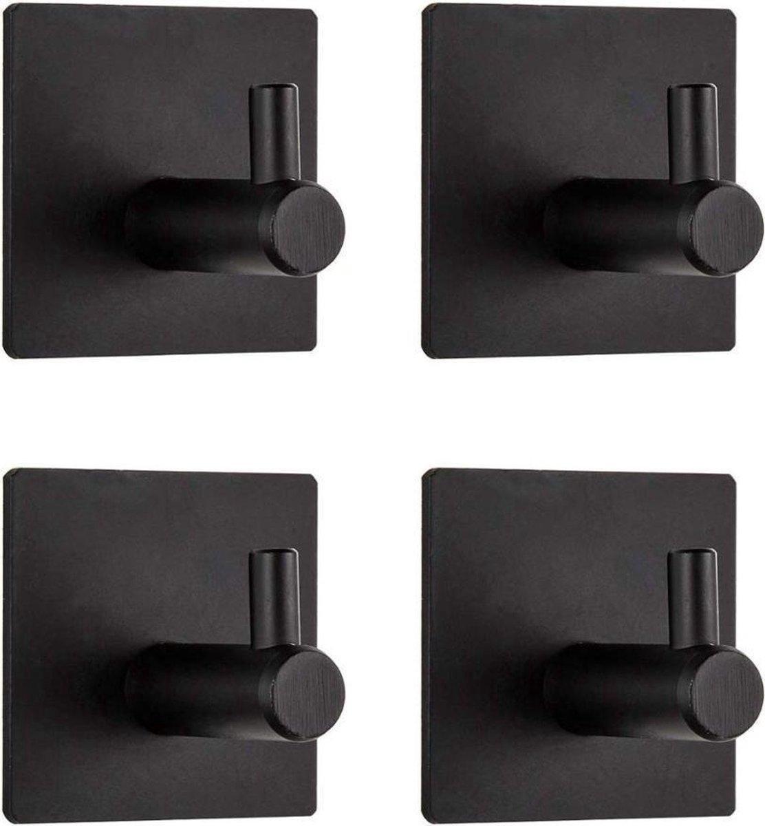 Handdoekhaak Set Zonder Boren RVS Zwart Vierkant Zelfklevend Badjas Theedoek Hanger Keuken Badkamer