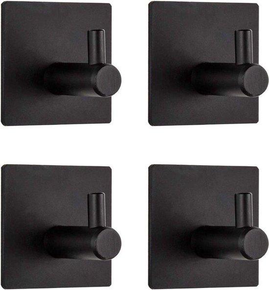 Afbeelding van Handdoekhaak Set Zonder Boren RVS Zwart Vierkant Zelfklevend Badjas Theedoek Hanger Keuken Badkamer Handdoek Haakjes