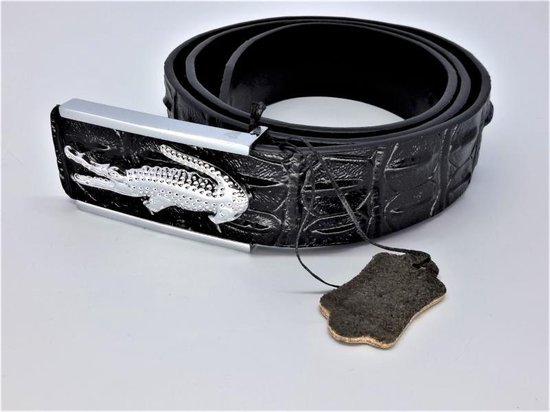 Leren riem krokodil, zwart, krokodil buckle, L115cm, H38mm, D4mm