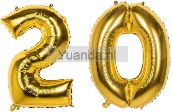 20 Jaar Folie Ballonnen Goud - Happy Birthday - Foil Balloon - Versiering - Verjaardag - Man / Vrouw - Feest - Inclusief Opblaas Stokje & Clip - XXL - 115 cm