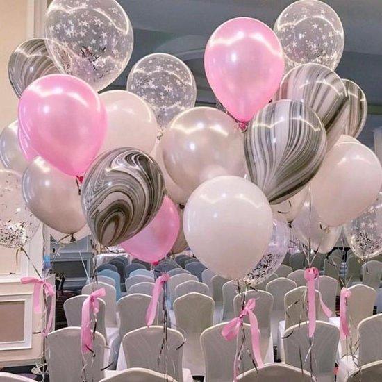 Ballonnen Rose - Wit - Grijs - Marmer ( Zwart-Wit) - Transparant ster print   9 stuks   Baby Shower - Kraamfeest - Verjaardag - Geboorte - Fotoshoot - Wedding - Birthday - Party - Feest - Huwelijk - Jubileum - Decoratie   DH collection