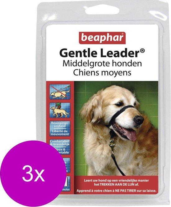 Beaphar Gentle Leader Zwart - Hondenopvoeding - 3 x Medium Middel