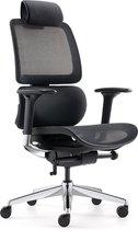 OVVIS Ergonomische bureaustoel - Bowie Aluminium - Zwart met Aluminium voet + Hoofdsteun