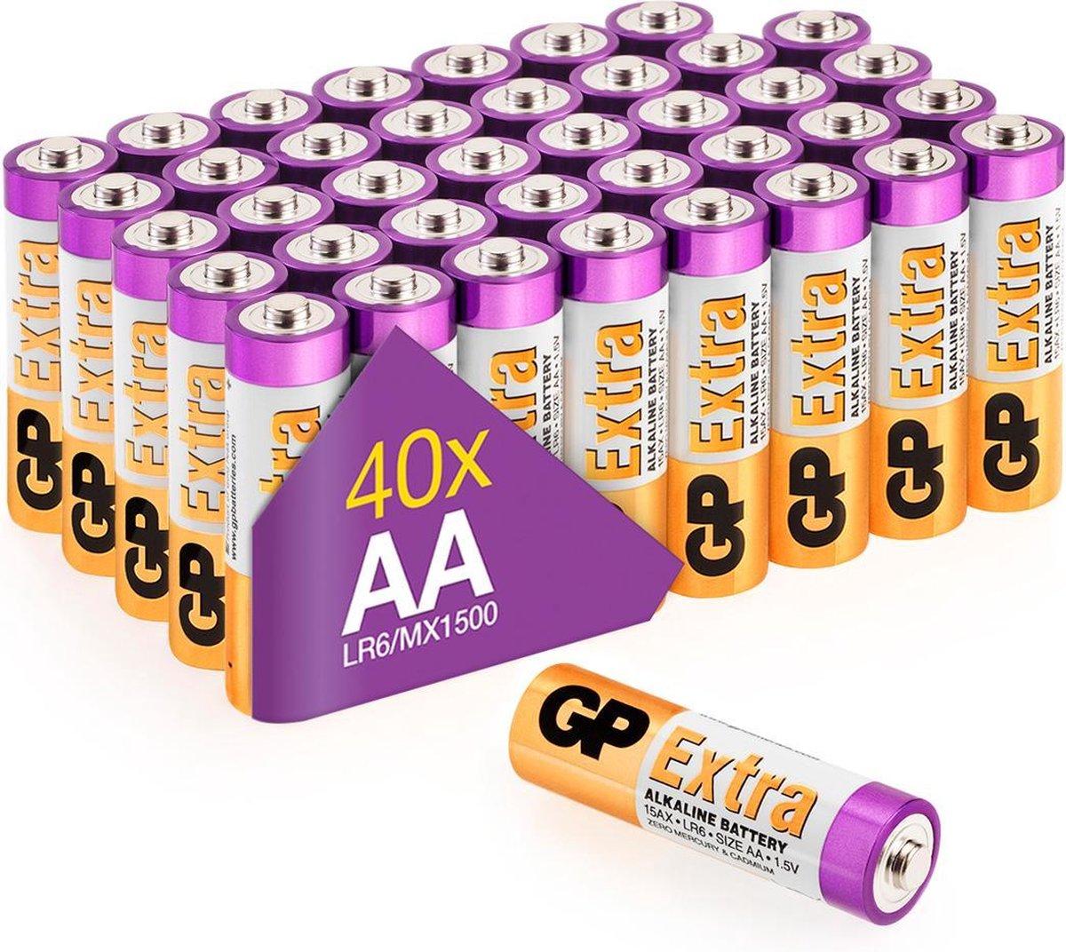 GP Extra Alkaline batterijen AA mignon penlite LR06 batterij 1.5V – 40 stuks - AA batterij