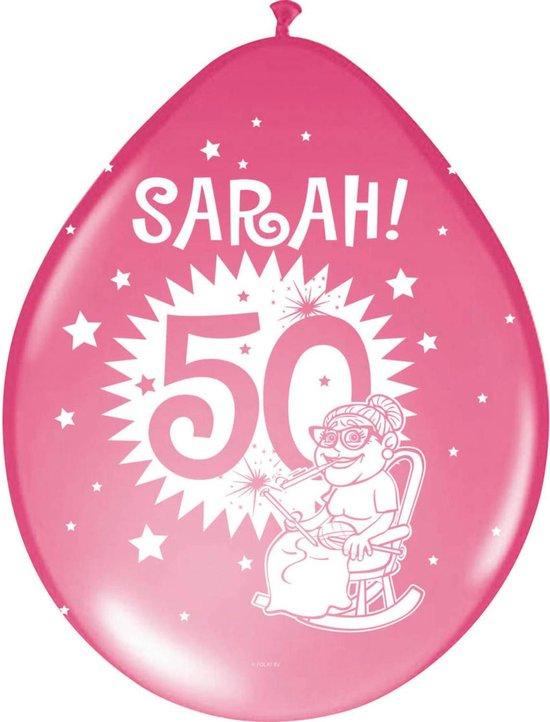 Sarah Ballonnen 8 stuks, div kleuren,  50 jaar, Verjaardag