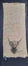 shabby doek Schotse Hooglander  40 x 95 cm