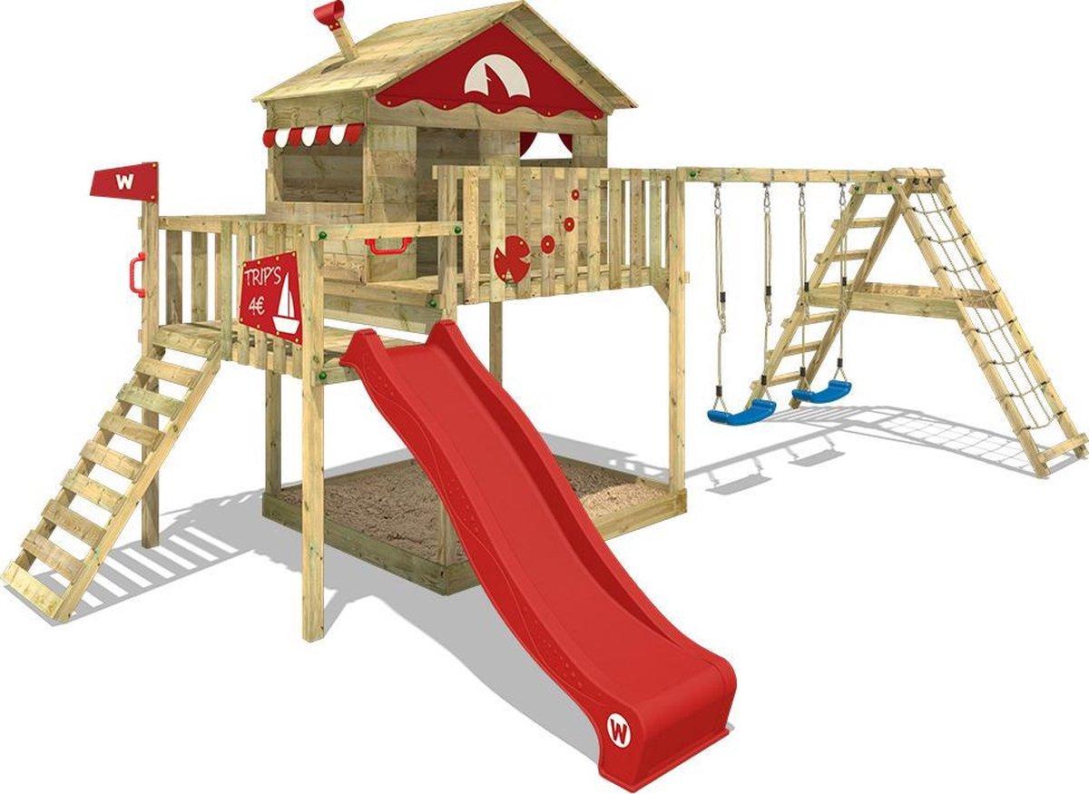 WICKEY Speeltoestel voor tuin Smart Ocean met schommel en rode glijbaan, Houten speeltuig, Speelhuis voor buiten met zandbak en klimladder voor kinderen