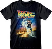 Back To The Future Unisex Affiche voor volwassenen T-Shirt (Zwart)