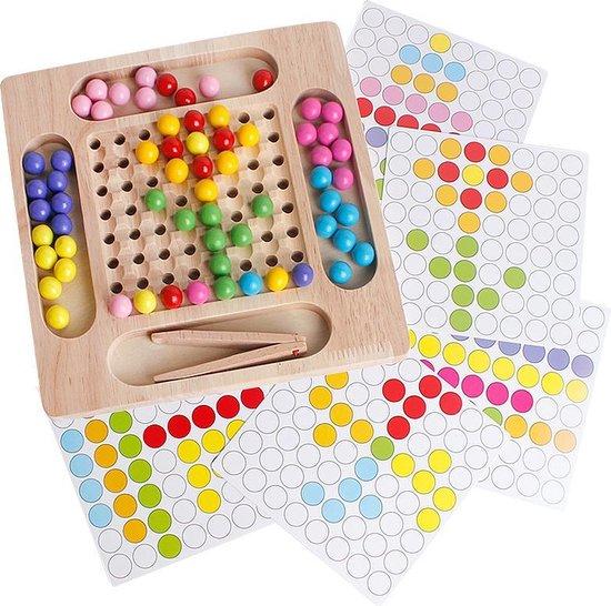 Thumbnail van een extra afbeelding van het spel 2-in-1 Montessori Houten Oefen met Eten & Kleur Leren -  Kleuren Puzzel - Montessori, pedagogisch speelgoed, Pasen, cadeau, spel met hengel, schaakspel voor motor skill kleuterschool sensorisch vanaf 3 jaar