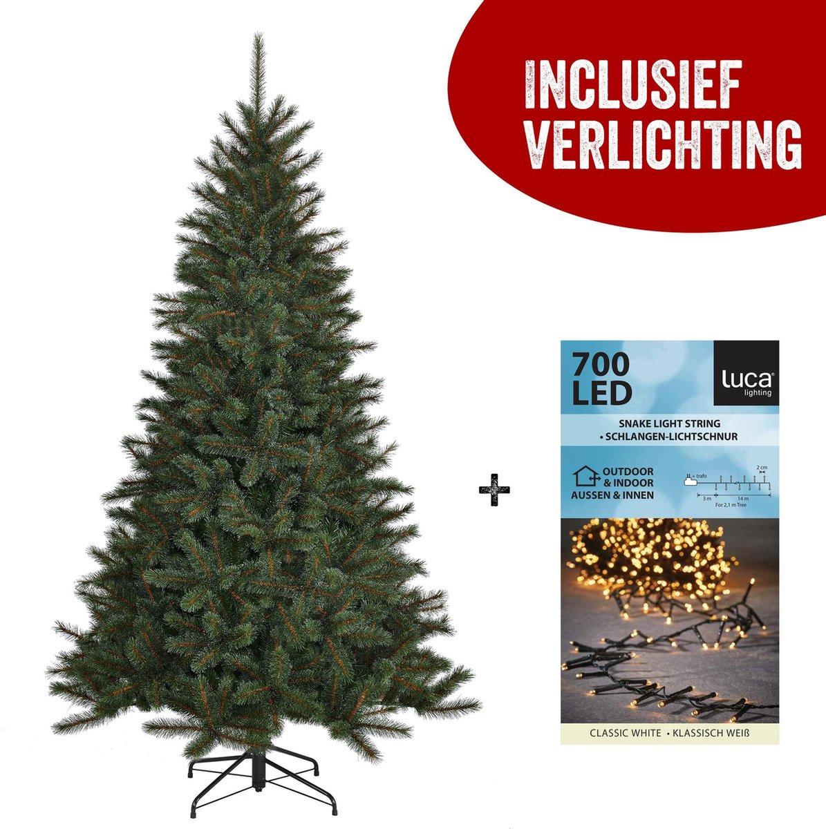 Top Trees Tulsa Kunstkerstboom met LED verlichting 2400k - H185 cm - Groen kopen