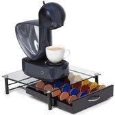 KitchenBrothers Glazen Capsule Houder met Lade - Geschikt voor 20 Dolce Gusto Cups - Espresso Koffie Pad en Cups Houder - Glas en RVS - Zwart