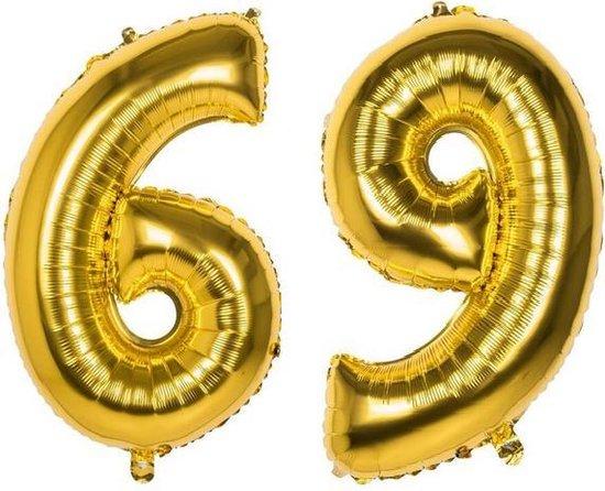 69 Jaar Folie Ballonnen Goud - Happy Birthday - Foil Balloon - Versiering - Verjaardag - Man / Vrouw - Feest - Inclusief Opblaas Stokje & Clip - XXL - 115 cm