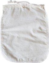 Passeerdoek – Neteldoek- Nettle cloth - Notenmelkdoek - zeefzak - Passeerzak - Kaasdoek - Notenmelkzak van Biologisch  Katoen – Noedelsdoek- Filterzak - 30x30 cm - Wit Beige
