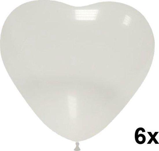 Hartjes ballonnen transparant/doorzichtig, 6 stuks, 28cm