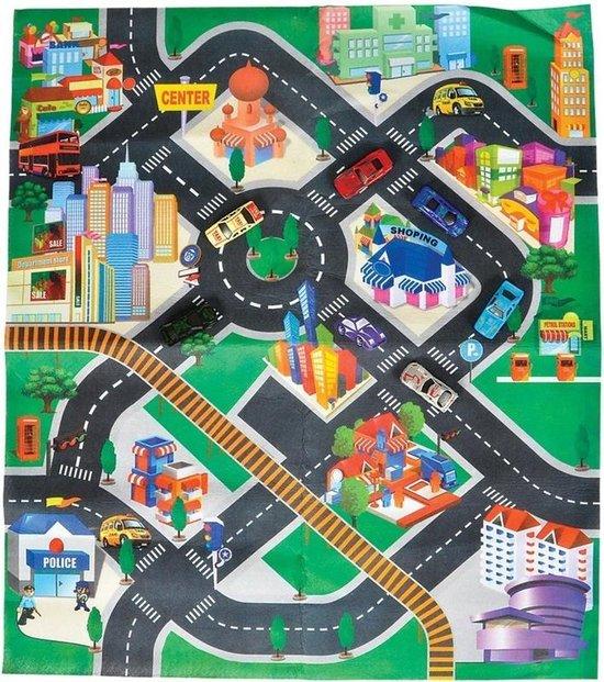 Afbeelding van Autospeelkleed Down Town 80 x 70 cm inclusief autootjes -  Speelkleed setje met twee autos speelgoed