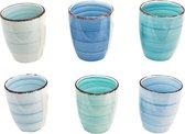 Koffiekopjes - Set van 6 - 160ML - allen unieke kleur - koffiemok - espresso mok - Ocean blue
