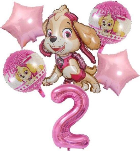 Ballonnen - set van 6 folieballonnen - Paw Patrol - Skye - 2 jaar
