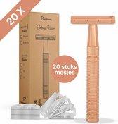 Safety Razor + 20 Scheermesjes Aluminium Rose Gold Goud voor vrouwen dames Double Edge Single Blade Venus Duurzaam Scheren