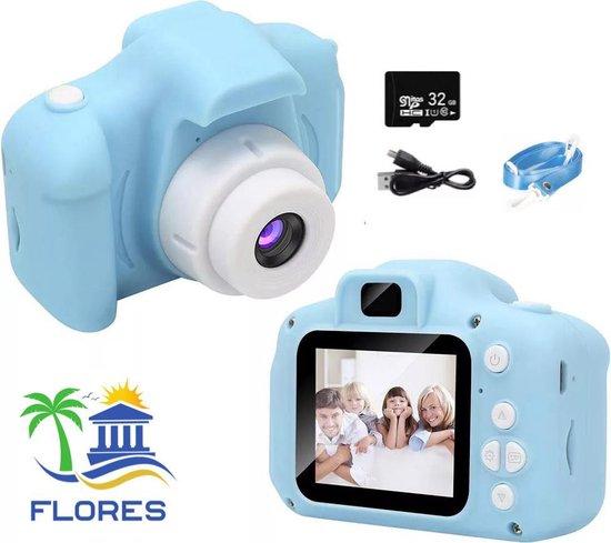 Flores Digitale HD 1080P Kindercamera   Inclusief 32GB Micro SD Kaart   Speelcamera   Blauw