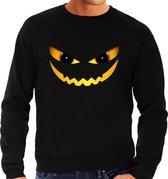 Halloween - Duivel gezicht halloween verkleed sweater zwart voor heren - horror trui / kleding / kostuum L