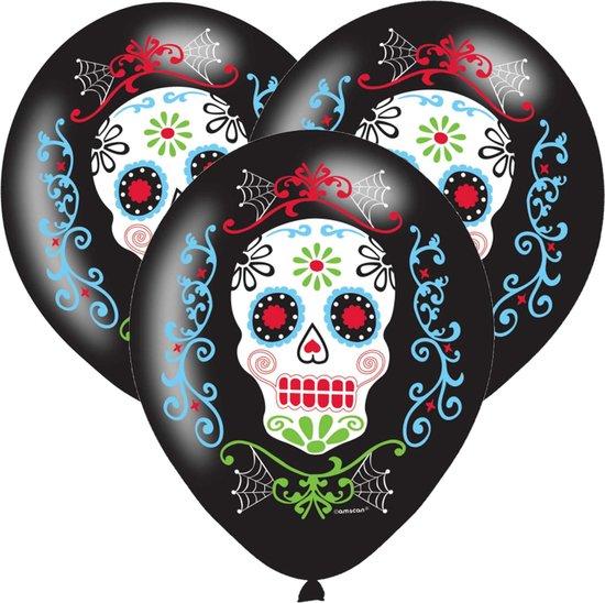 12x Zwarte horror ballonnen Day of the dead sugarskull print 27,5 cm - Halloween ballon decoratie en versiering