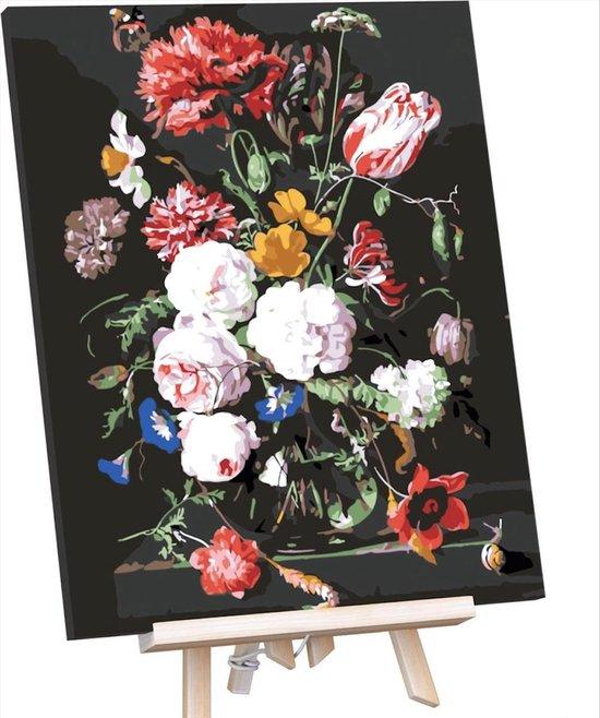 Schilderen Op Nummer Volwassenen - Do It Yourself Paintings - Stralende Bloemen - Bloemen - Bloemen in Vaas - Kleurrijk - 40x50 cm - Canvas