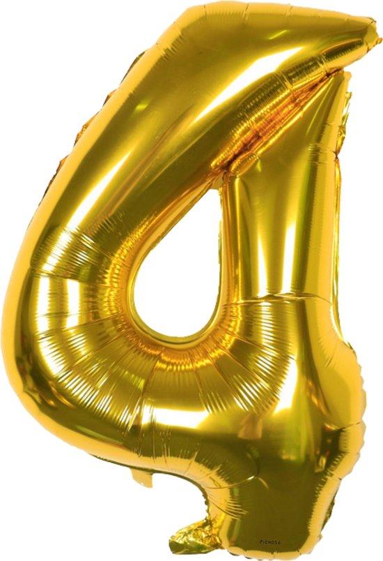Cijfer Ballonnen - Cijfer Ballon Goud - Cijfer 4 Ballon - 82 cm Hoog - Ballonnen Verjaardag - Feestversiering - 40 Jaar - Fienosa