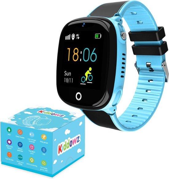 KIDDOWZ Smartwatch Kinderen – GPS Horloge voor Kids – Met Tracker Kind – Kinderhorloge – jongen / meisje – Waterbestendig - HD Videobellen – Inclusief Simkaart – Blauw