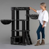 RHRQuality Corner Coon Blackline Krabpaal Voor Grote Katten - 60 x 56 x 151 cm - Donker Grijs