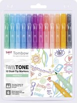 Dual-tip markers TwinTone, 12 pcs.-set pastels (1 x each 86 mint green, 74 aqua, 73 sky blue, 83 sax blue, 21 pale purple, 81 raspberry, 60 princess pink, 61 peach pink, 78 coral pink, 48 honey orange, 4 chrome yellow, 49 grey).