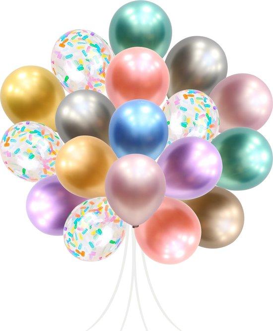 50 stuks Chroom Metallic Gekleurde Feest Papieren Confetti ballonnen MagieQ Verjaardag Versiering - Regenboog Unicorn Ballonnenboog - Latex - Helium