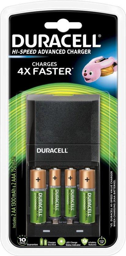 Duracell Batterijlader – Laadt op in 45 minuten, inclusief 2 AA en 2 AAA...