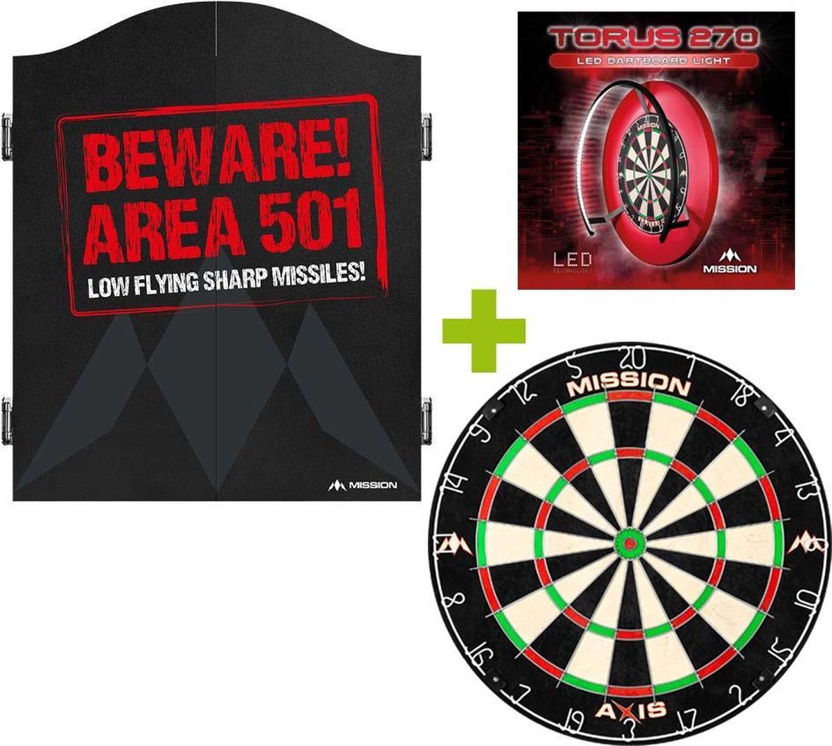 Mission Deluxe Beware 501 Dartkabinet + Mission Axis +
