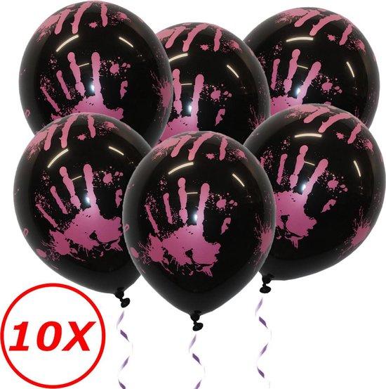 Halloween Decoratie Versiering Zwarte Helium Ballonnen Feest Versiering Halloween Accessoires Bloed afdruk – 10 Stuks