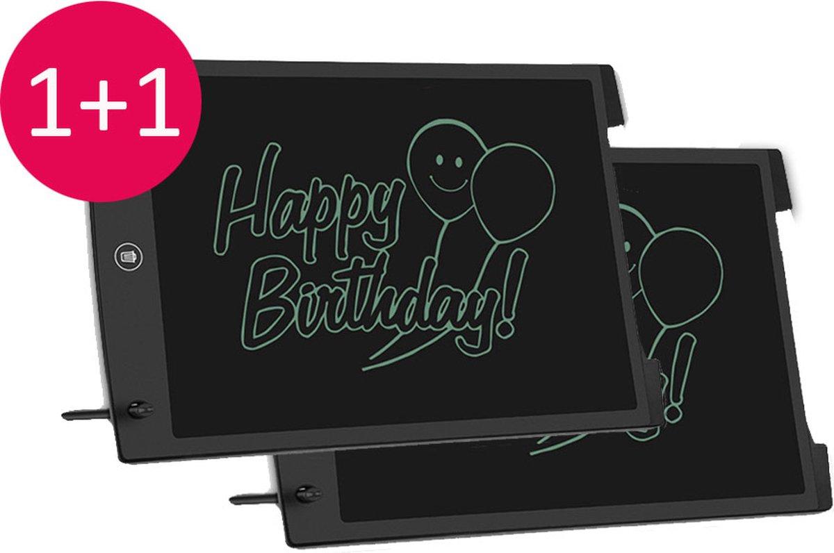 Digitaal tekentablet - graphisch tablet - schrijfbord met LCD scherm- memotablet - writing tablet - 12 inch -zwart - 2 stuks - voordelig