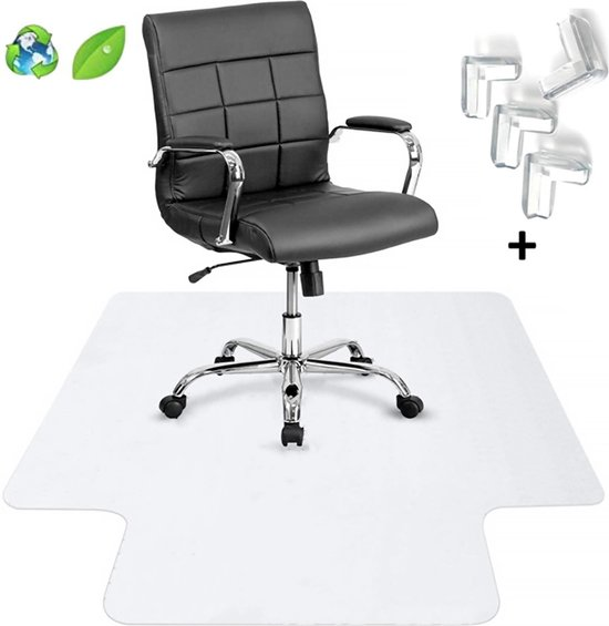 Luxergoods bureaustoelmat PVC - Met Lip -  90x120 cm - Inclusief Hoekbeschermers - Vloerbeschermer - Beschermt harde vloer