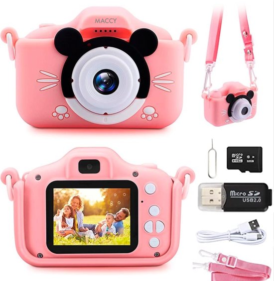 Maccy - Kindercamera - Fototoestel - Video - Camera - Selfie Camera - Magische Filters - Micro SD Kaart Lezer - Spelletjes - Veiligheidsriem -Digitale Kindercamera - USB - 32GB Micro SD Kaart - Fotocamera - Digitale