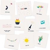 MIX 1 - 10 gevouwen luxe wenskaarten inclusief envelop - ansichtkaart - verjaardag - liefde - zomaar - gefeliciteerd - bedankt