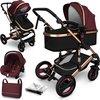 Sens Design Kinderwagen 3 in 1 - met luiertas - Bordeaux/Goud